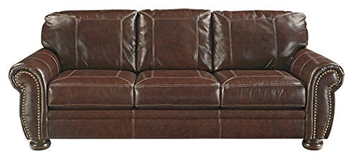 Ashley Banner Traditional Coffee Faux Leather Sleeper Sofa Queen Mattress