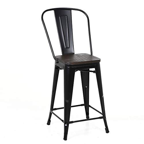 Buschman Set of 4 Matte Black Wooden Seat 24 Inches Counter Height Metal Bar Stools, High Back, Indoor/Outdoor