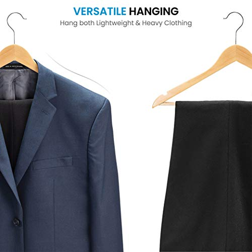 High-Grade Wooden Suit Hangers with Non Slip Pants Bar -Smooth Finish Solid Wood Coat Hanger with 360° Swivel Hook and Precisely Cut Notches for Camisole, Jacket, Pant, Dress Clothes Hangers (20 Pack)