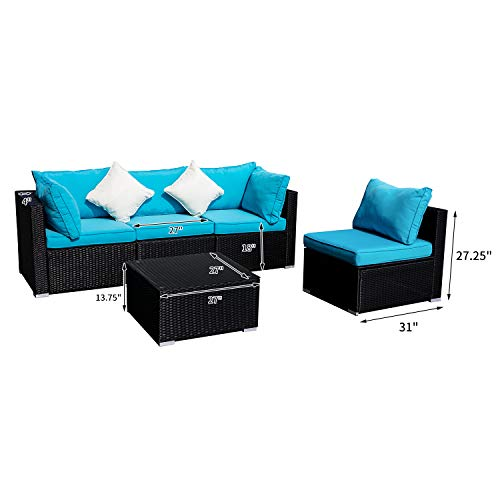 Outdoor Wicker Patio Furniture Sectional Cushioned Rattan Conversation Sofa Sets Black (Blue-5 Pieces)