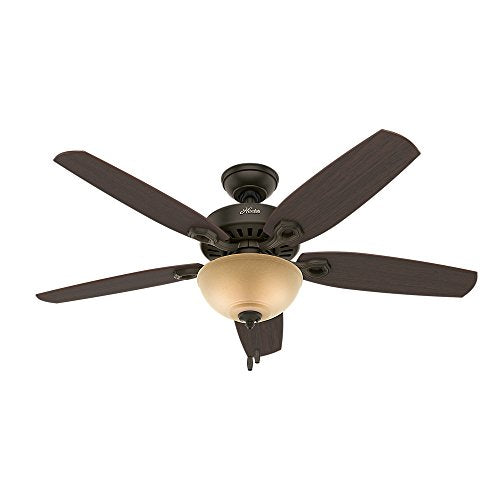 Hunter Indoor Ceiling Fan with light and pull chain control - Builder Deluxe 52 inch, New Bronze, 53091