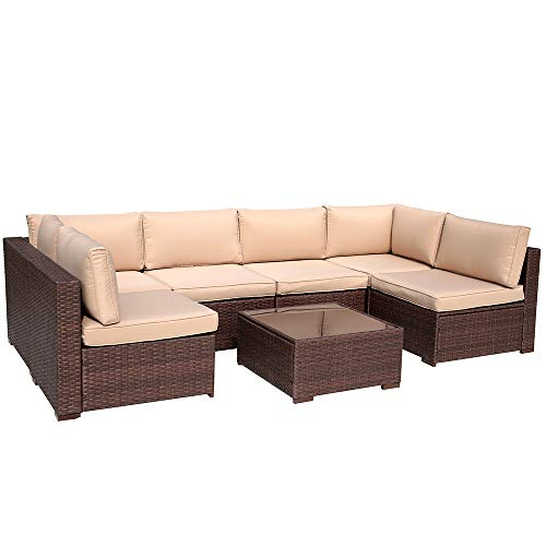 Patiorama 7 Piece Patio Conversation Set, Outdoor PE Wicker Rattan Sectional Furniture Sofa Set with Beige Seat and Back Cushions, Steel Frame, Espresso Brown