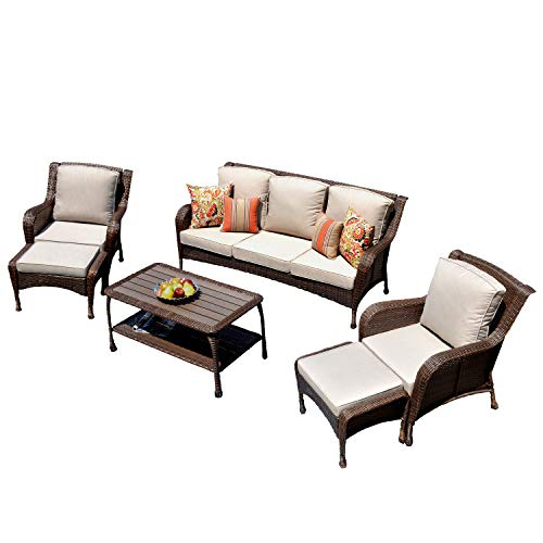 ovios Patio Furniture Sets,6 Pieces Rattan Wicker Sectional Sofa Deep Seating Conversation Set with 2 Pillow and Furniture Cover, All Weather | Backyard, Pool,Porch Garden (6 Piece, Beige)