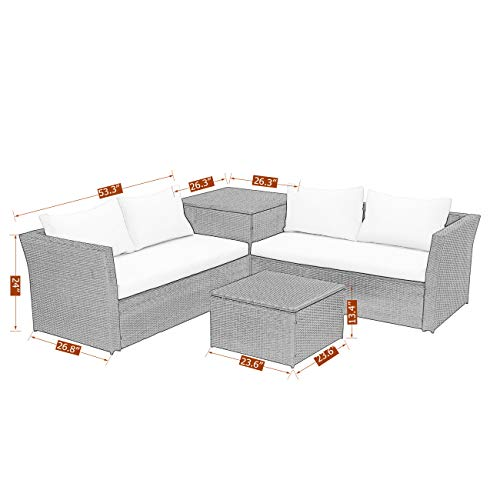 Wisteria Lane Outdoor Patio Furniture Set, 4 Piece Sectional Sofa Couch Conversation Set Loveseat with Storage Table All-Weather Brown Wicker,Beige Cushions