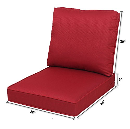 Quality Outdoor Living All Weather Deep Seating Patio Chair Seat and Back Cushion Set, 22-Inch by 25-Inch, Dragon Fruit