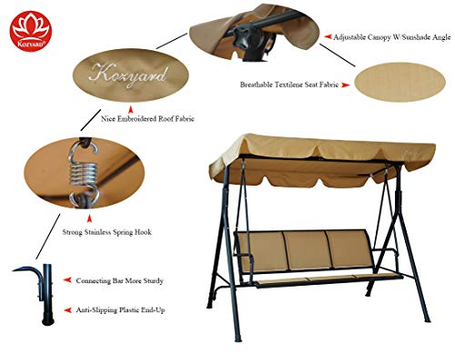 Kozyard Belle 3 Person Outdoor Patio Swing with Strong Weather Resistant Powder Coated Steel Frame and Textilence Seats