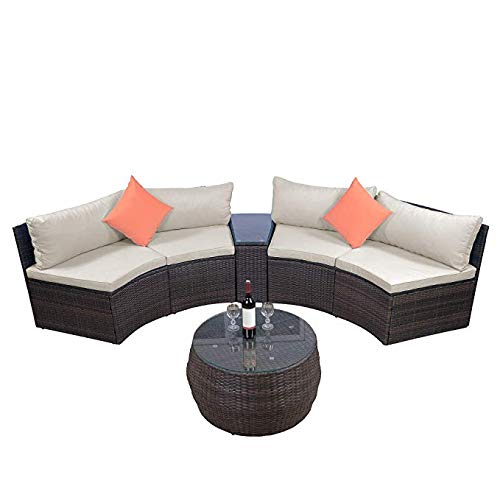LZ LEISURE ZONE Patio Furniture Sets, Outdoor Half-Moon Sectional Furniture Wicker Sofa Set with Two Pillows and Coffee Table (Beige)