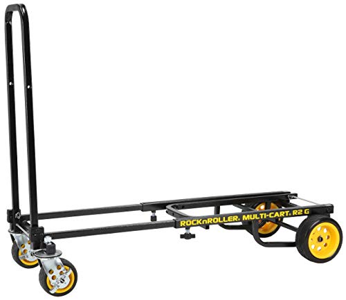 "Rock-N-Roller R2G (Micro Ground Glider) 8-in-1 Folding Multi-Cart/Hand Truck/Dolly/Platform Cart/26"" to 39"" Telescoping Frame/350 lbs. Load Capacity, Black"