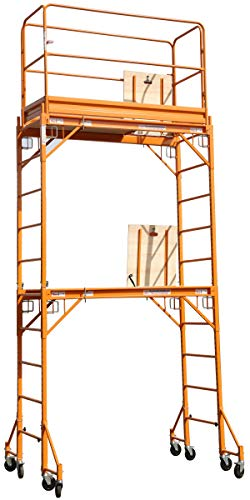 CBM Multipurpose Maxi Square Baker Style Scaffold Tower Package - 12 Feet, 1,000 Pound Capacity With Hatch Deck Guard Rail and Double U Lock