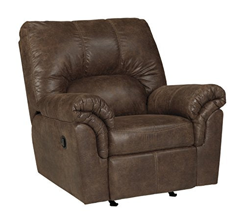 Ashley Furniture Signature Design - Bladen Contemporary Plush Upholstered Rocker Recliner - Pull Tab Reclining - Coffee Brown