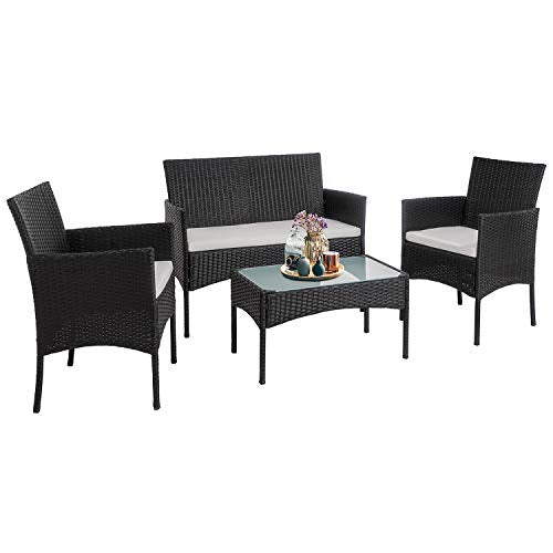 Walsunny 4 Pieces Outdoor Patio Furniture Sets Rattan Chair Wicker Set,Outdoor Indoor Use Backyard Porch Garden Poolside Balcony Furniture (Medium)