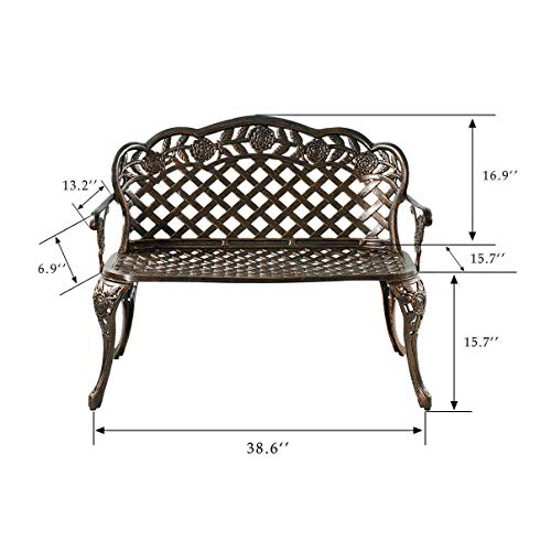 HOMEFUN Outdoor Bench Aluminum, Garden Park Benches Patio Front Porch Loveseat Furniture, Rose Carving and Weather Resistant (Antique Bronze)