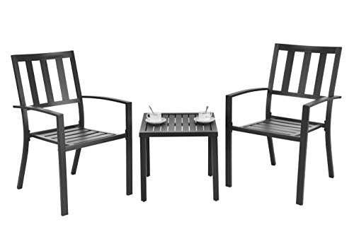 EMERIT 3 Piece Outdoor Bistro Sets Metal Modern Patio Furniture, Black