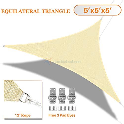 Sunshades Depot 5' x 5' x 5' Tan Beige Sun Shade Sail 180 GSM HDPE Equilateral Triangle Permeable Canopy Custom Commercial Standard