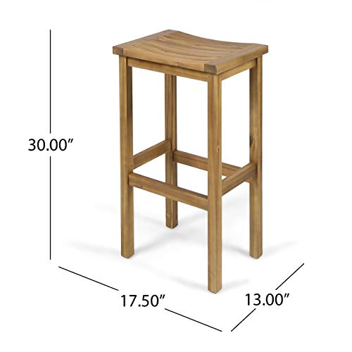 "Christopher Knight Home 304142 Caribbean Outdoor 30"" Natural Finish Acacia Wood Barstools (Set of 2), Stained"