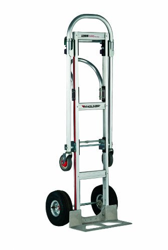 "Magliner GMK81UA4 Gemini Sr Convertible Hand Truck, Pneumatic Wheels, 500 lbs Load Capacity, 61"" Height, 55-3/4"" Length x 21"" Width"