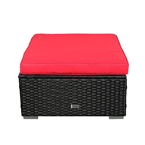 LUCKWIND Patio Ottoman Wicker Rattan Cushion - Modern Outdoor Sectional Furniture Sofa Couch Coffee Table Large Footrest D/28.5(RED Ottoman)