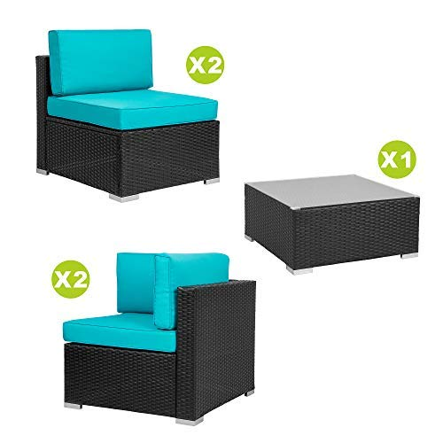 Walsunny 5pcs Patio Outdoor Furniture Sets,Low Back All-Weather Rattan Sectional Sofa with Tea Table&Washable Couch Cushions (Black Rattan) (Blue)