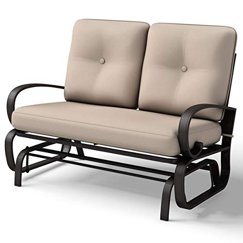 Giantex Outdoor Patio Rocking Bench Glider Loveseat Cushioned 2 Seats Steel Frame Furniture