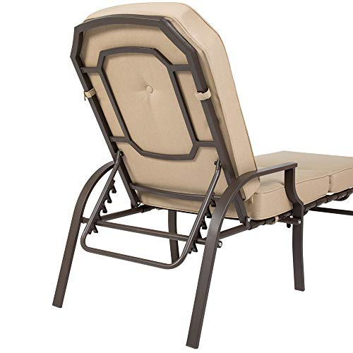 Best Choice Products Outdoor Chaise Lounge Chair W/ Cushion Pool Patio Furniture Beige