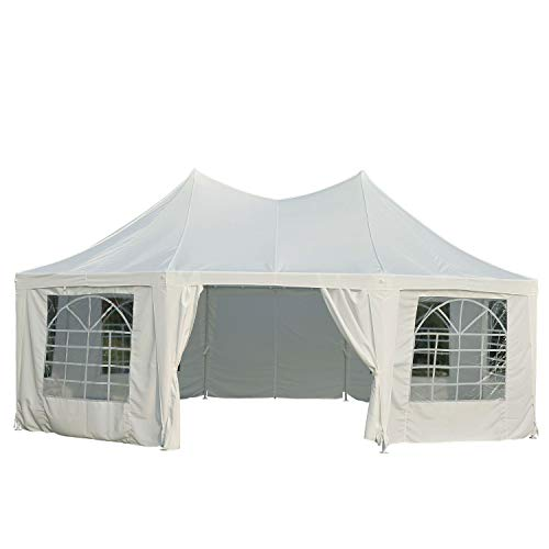 Outsunny 22' x 16' Large Octagon 8-Wall Party Canopy Gazebo Tent - White