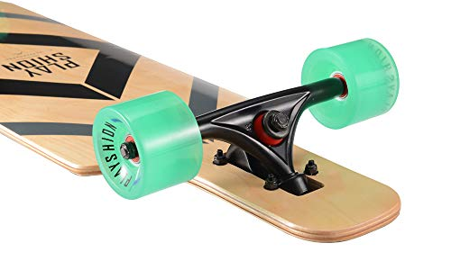 Playshion 39 Inch Drop Through Freestyle Longboard Skateboard Cruiser Black