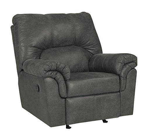 Ashley Furniture Signature Design - Bladen Contemporary Plush Upholstered Rocker Recliner - Pull Tab Reclining - Slate Gray