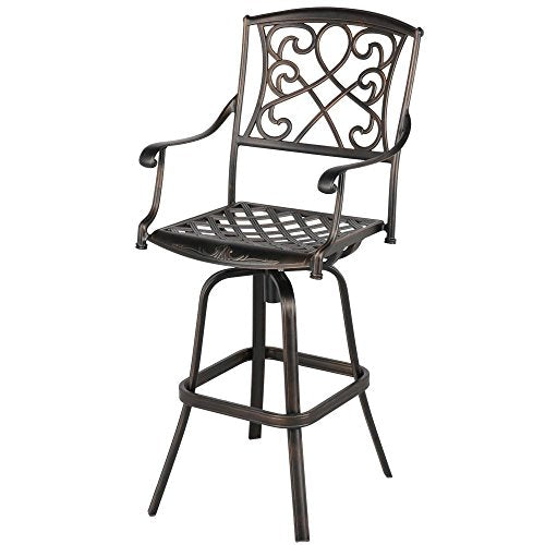 Yaheetech Outdoor Cast Aluminum Patio Chair 360 Degree Swivel Bar Stool Patio Furniture Antique Copper Design