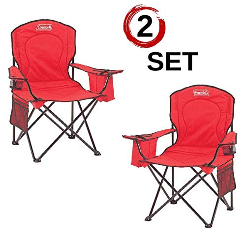 Coleman Portable Camping Quad Chair with 4-Can Cooler (2 Set - Red)