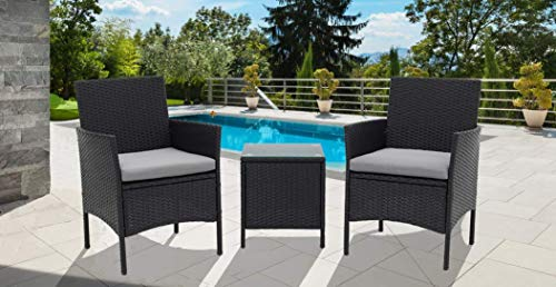 SUNCROWN Outdoor Bistro Set 3 Piece Black Wicker Chairs with Glass Top Table All-Weather Wicker Patio Furniture with Thick Cushions, Garden, Backyard, Porch or Pool