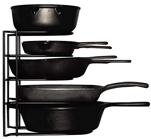 Heavy Duty Pots and Pans Organizer - For Cast Iron Skillets, Pots, Frying Pans, Lids | 5-Tier Durable Steel Rack for Kitchen Counter & Cabinet Storage and Organization - No Assembly Required [Black]