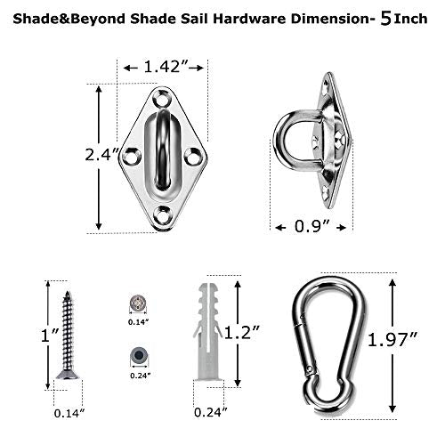 Shade&Beyond 316 Marine Grade Shade Sail Hardware Kit 5 inch for Rectangle and Square Sun Shade Sails Installation, 24 Pcs