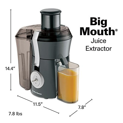 "Hamilton Beach Pro Juicer Machine, Big Mouth Large 3"" Feed Chute, Centrifugal, Easy to Clean, Powerful 1.1 HP Motor, Grey and Die-Cast Metal (67650A),"