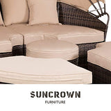 SUNCROWN Outdoor Patio Round Daybed with Retractable Canopy, Brown Wicker Furniture Clamshell Sectional Seating with Washable Cushions, Patio, Backyard, Porch, Pool
