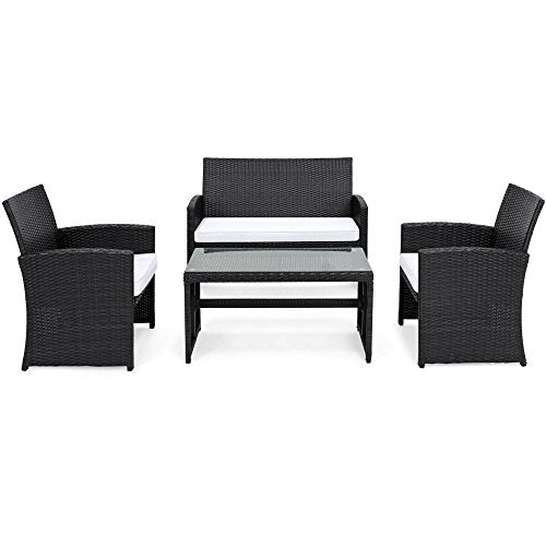 Best Choice Products 4-Piece Wicker Patio Conversation Furniture Set w/ 4 Seats, Tempered Glass Tabletop, 3 Sofas, Table, Weather-Resistant Cushions - Black