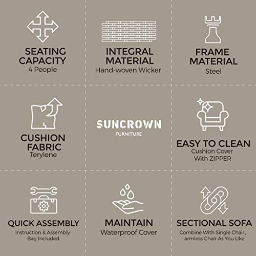SUNCROWN Outdoor Furniture Conversation Set with Glass Top Table (4-Piece Set) All-Weather Brown Wicker and Thick, Durable Cushions with Washable Covers, Porch, Backyard, Pool or Garden