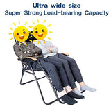 LUCKYBERRY Deluxe Oversized Padded Zero Gravity Chair XL Black Brown Cup Holder Lounge Patio Chairs Outdoor Yard Beach Support 350lbs