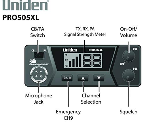 Uniden PRO505XL 40-Channel CB Radio. Pro-Series, Compact Design. Public Address (PA) Function. Instant Emergency Channel 9, External Speaker Jack, Large Easy to Read Display.