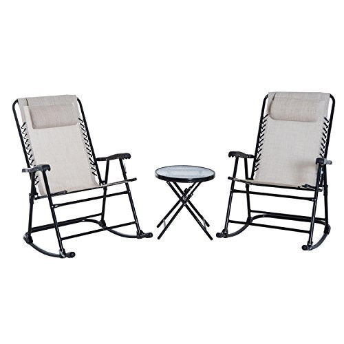 Outsunny Outdoor Folding Rocking Chair Patio Table Seating Set - Cream White