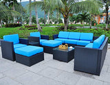 MCombo 6085-1013 Patio Sectional Indoor Outdoor Sofa Furniture Set With Black Wicker 13 Piece