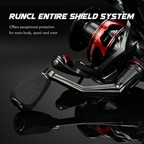RUNCL Spinning Reel Titan I, Fishing Reel with Full Metal Body, Max Drag 33LB, 5 Carbon Fiber Drag Washers, 9+1 Stainless Steel Shielded Bearings, Hollow Out Rotor for Saltwater and Freshwater (2000)