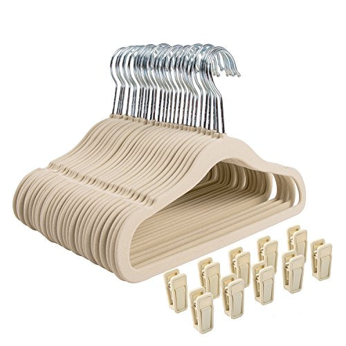 Finnhomy Non-Slip Clothes Hanger for Baby and Kids 30-Pack Velvet Hangers with 10 Finger Clips,Beige