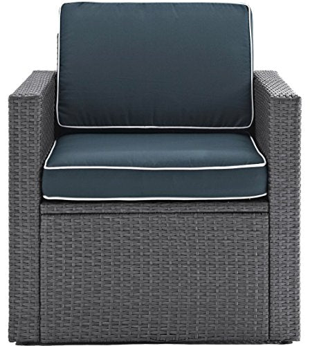 Crosley Furniture CO7102WG-NV Palm Harbor Outdoor Wicker Arm Chair with Navy Cushions, Grey
