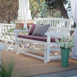 Coral Coast Coral Coast Pleasant Bay 4 ft. Curved Back Outdoor Glider Loveseat -, White, Wood