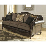 Ashley Furniture Signature Design - Winnsboro Traditional Style Faux Leather Sofa - 7 Back Pillows - Vintage