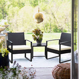 Flamaker 3 Pieces Patio Set Outdoor Wicker Patio Furniture Sets Modern Bistro Set Rattan Chair Conversation Sets with Coffee Table (White)