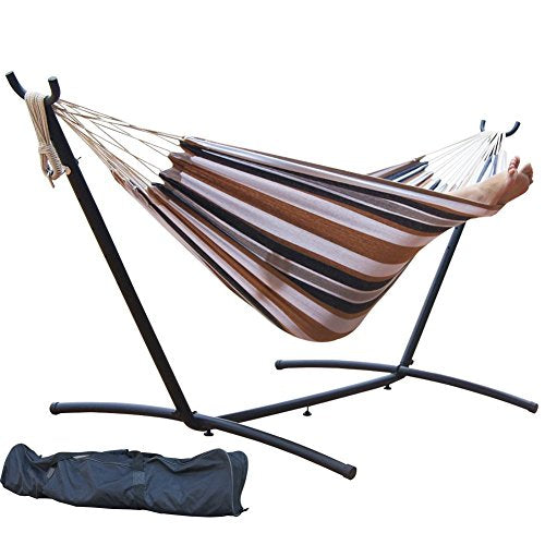 PG PRIME GARDEN 9' Double Hammock with Space Saving Steel Hammock Stand, Elegant Desert Stripe