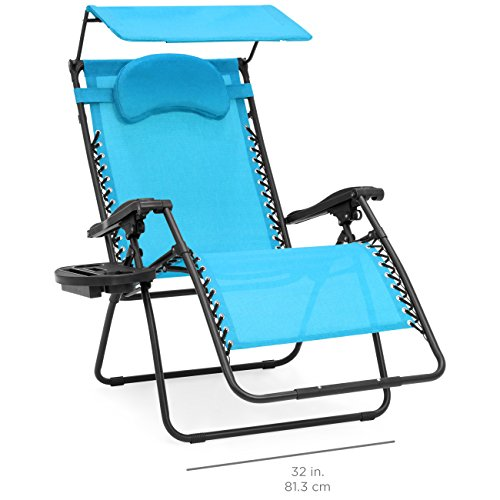 Best Choice Products Oversized Steel Mesh Zero Gravity Reclining Lounge Patio Chair with Folding Canopy Shade and Cup Holder, Aqua