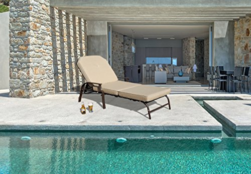 Kozyard Maya Outdoor Chaise Lounge Weather & Rust Resistant Steel Chair with Polyester Fabric Cushion for Pool, Patio, Deck or Yard (Beige)