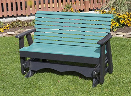 Ecommersify Inc 4FT-Aruba Blue-Poly Lumber ROLL Back Porch Glider Heavy Duty Everlasting PolyTuf HDPE - Made in USA - Amish Crafted